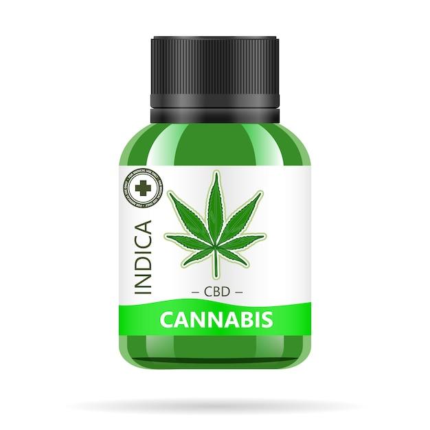 大麻と現実的な緑色のガラス瓶。 Premiumベクター