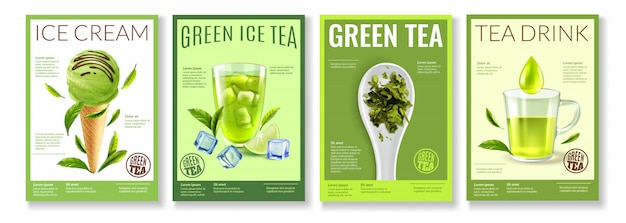 Realistic green tea collection Free Vector