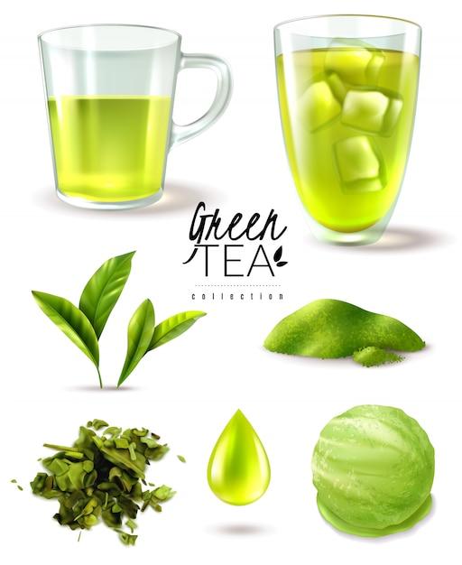Реалистичный зеленый чай со льдом набор с изолированными изображениями спелых листьев чашки и мороженого совок векторная иллюстрация Бесплатные векторы