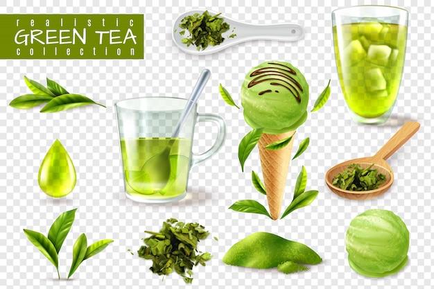 Реалистичные зеленый чайный сервиз с изолированными изображениями чашки ложки и натуральные листья векторная иллюстрация Бесплатные векторы