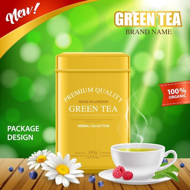 Realistic green tea tin box Free Vector