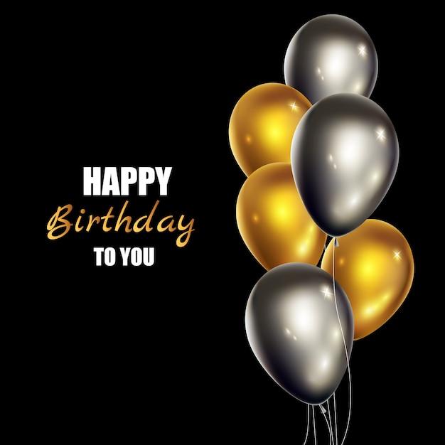 Realistic greeting card happy birthday Premium Vector