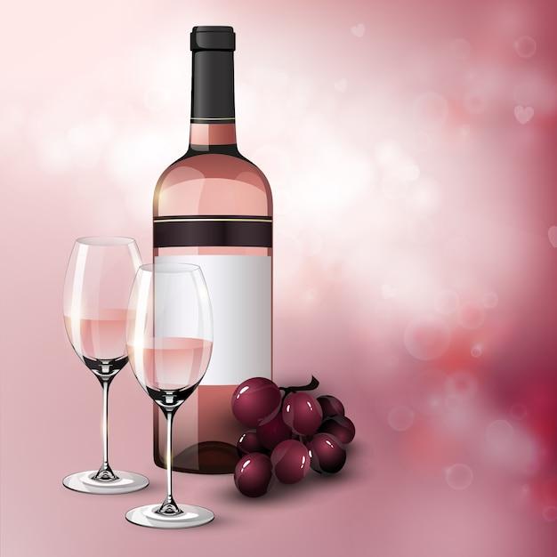Реалистичный приветственный праздничный плакат с бутылкой гроздья винограда и бокалами, полными розового вина Бесплатные векторы