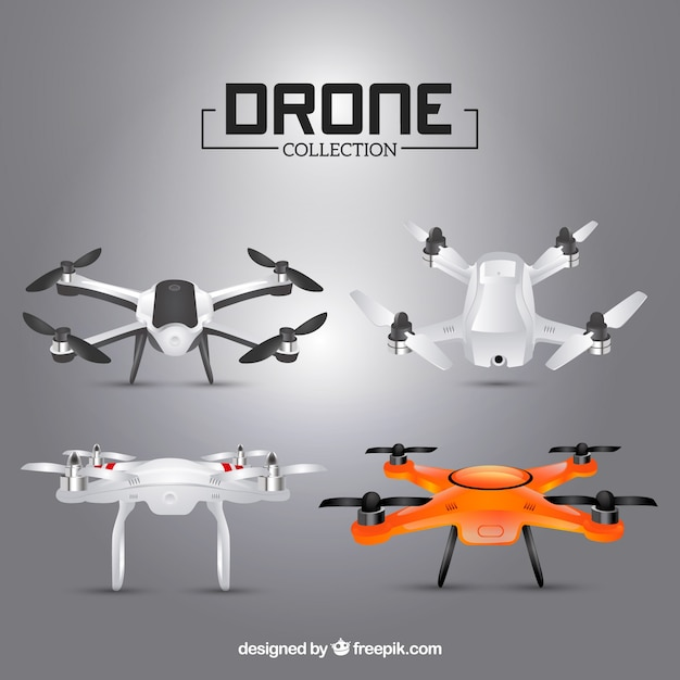 Realistic grey drone collection