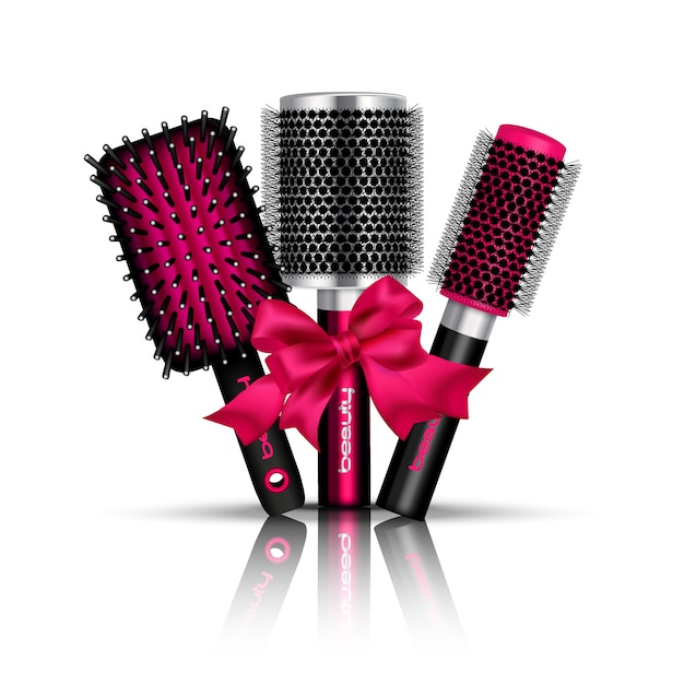 Realistic hair brush composition with three hairbrushes for styling tied a red ribbon vector illustration Free Vector