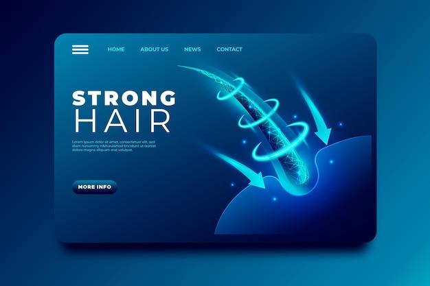 Реалистичная целевая страница лечения выпадения волос Бесплатные векторы