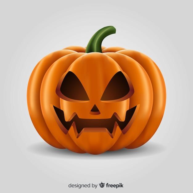 Realistic halloween angry pumpkin Free Vector