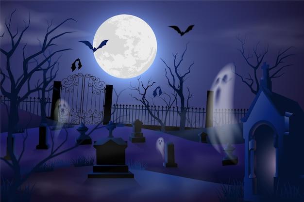 墓地と現実的なハロウィーンの背景 無料ベクター