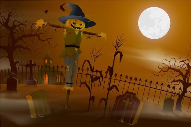 Реалистичный фон хэллоуина с пугалом Бесплатные векторы