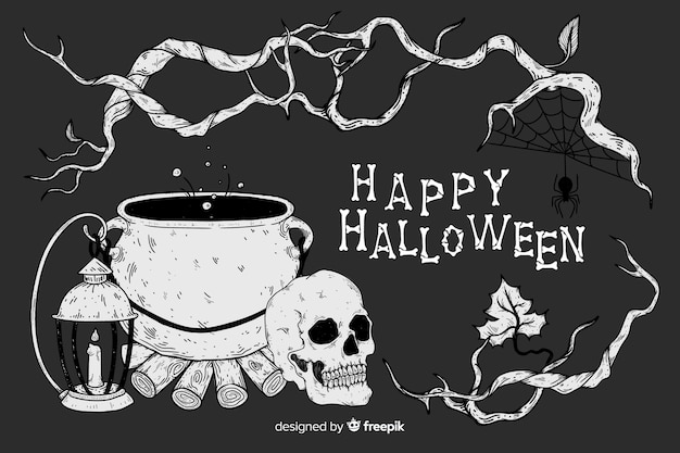 Realistic halloween background Free Vector