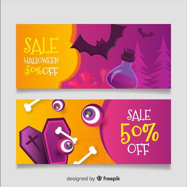 Realistic halloween banners purple and orange Free Vector
