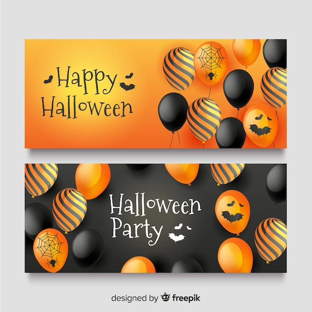 Realistic halloween banners with cute balloons Free Vector