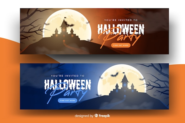 Realistic halloween banners with haunted house Free Vector