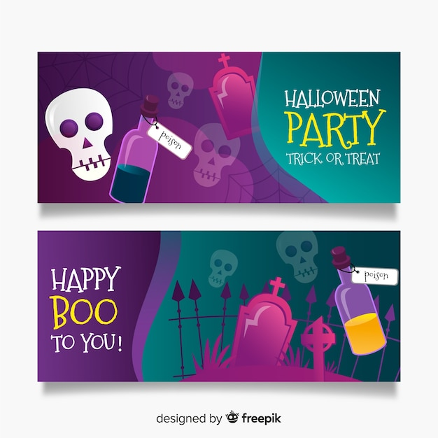 Realistic halloween banners with skulls and graveyard Free Vector