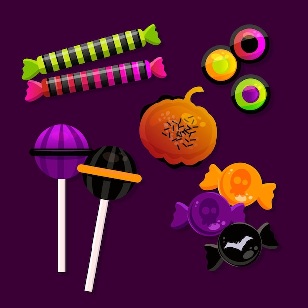 Realistic halloween candy collection Free Vector