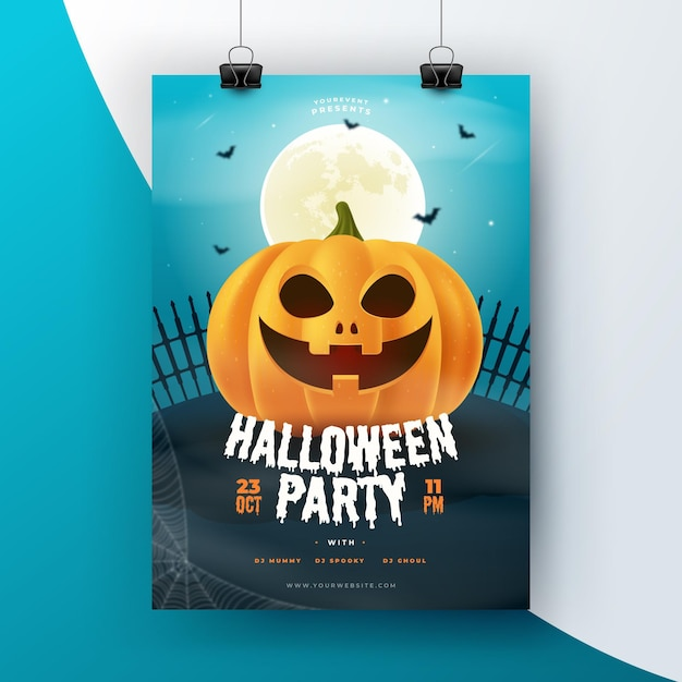 Realistic halloween flyer template Free Vector