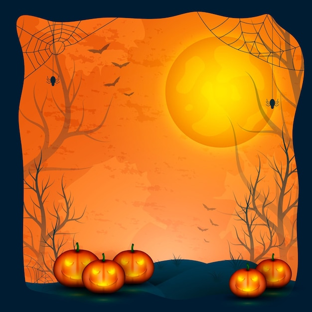 Realistic halloween frame concept Free Vector