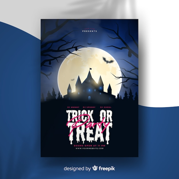 Realistic halloween party flyer template with haunted house Free Vector