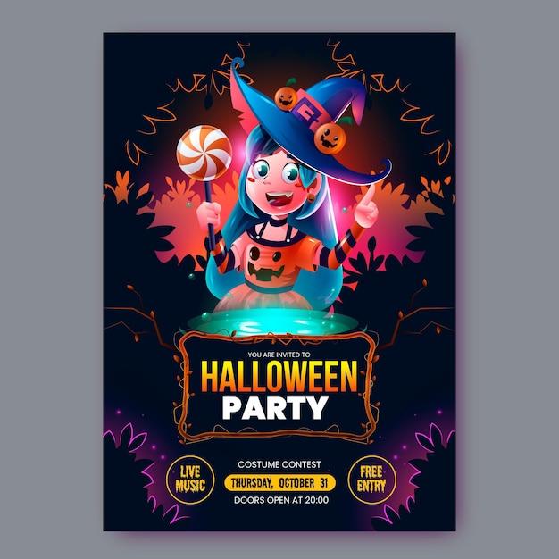 Modello realistico di volantino festa di halloween Vettore gratuito