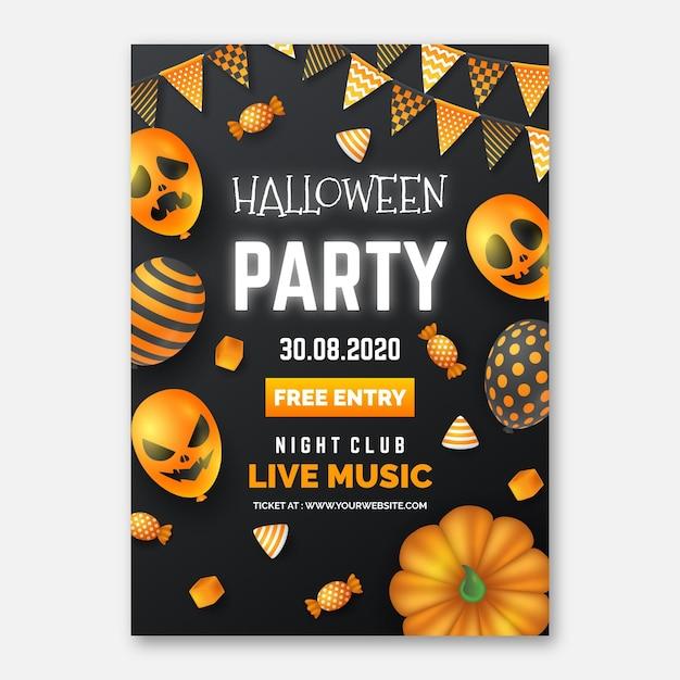 현실적인 할로윈 파티 포스터 템플릿 무료 벡터