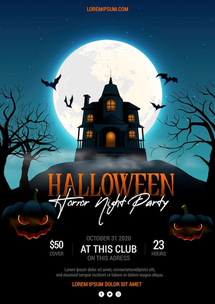 Realistic halloween party poster Free Vector