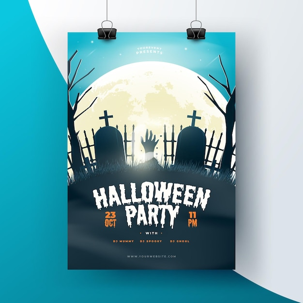 Realistic halloween poster template Free Vector