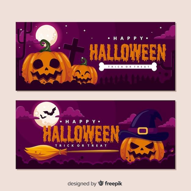 Realistic halloween pumpkin banners Free Vector
