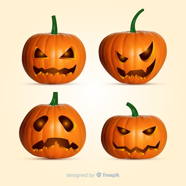 Realistic halloween pumpkin collection Free Vector