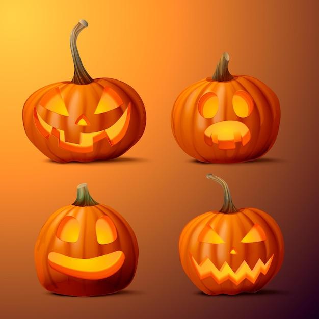 Collezione realistica di zucca di halloween Vettore gratuito