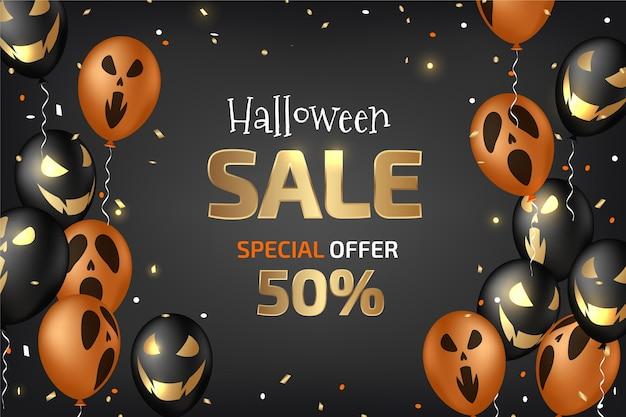 Realistic halloween sale horizontal banner Premium Vector