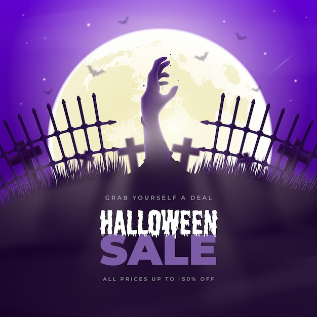 Realistic halloween sale illustration with cemetery Free Vector