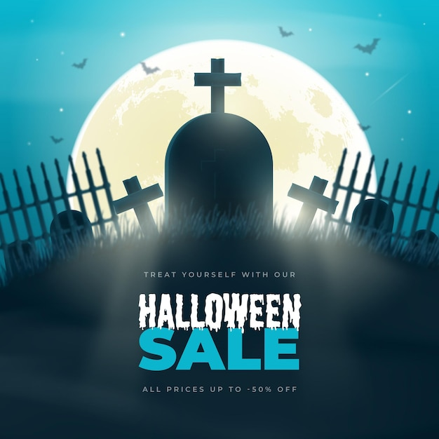 Realistic halloween sale illustration Free Vector