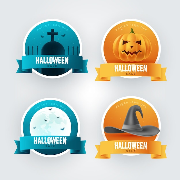 Realistic halloween sale label collection Free Vector