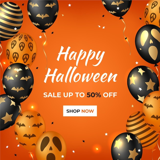 Realistic halloween sale squared banner Free Vector