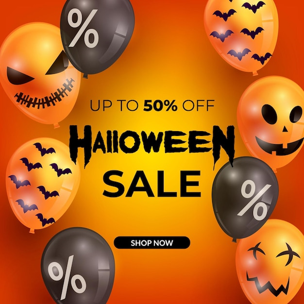 Realistic halloween sale with balloons Free Vector