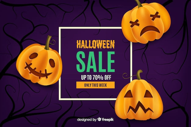 Realistic halloween sale with curved pumpkins Free Vector