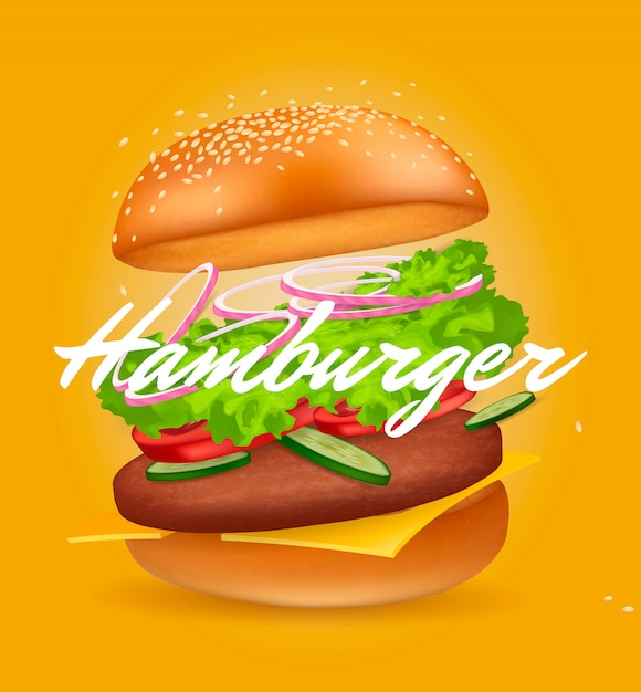 Realistic hamburger. fast food. Premium Vector