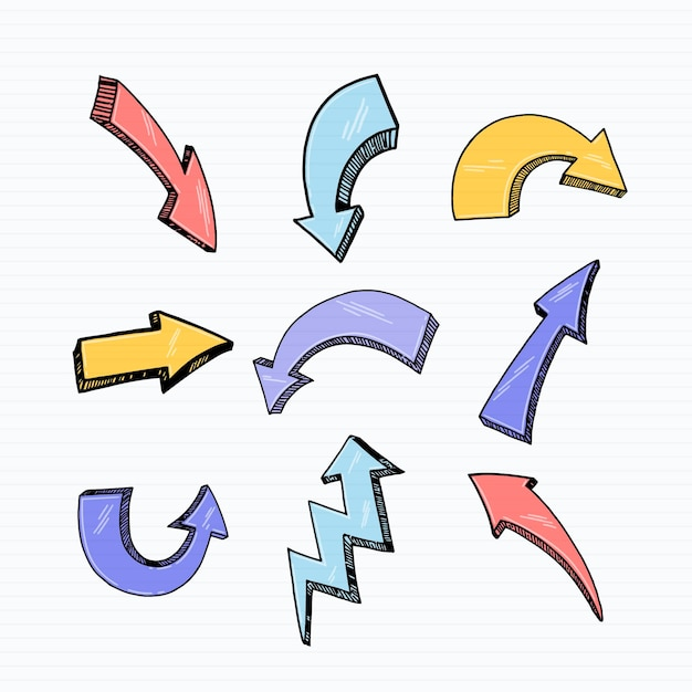 Realistic hand drawn arrow collection Free Vector