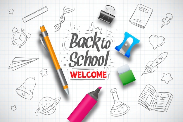 Realistic hand drawn back to school background Premium Vector