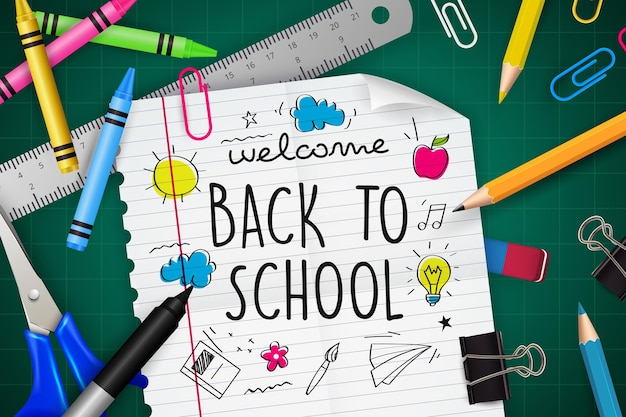 Realistic hand drawn back to school background Free Vector