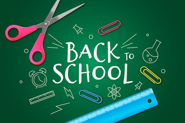 Realistic and hand drawn back to school wallpaper Free Vector