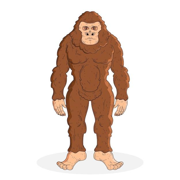 Illustrazione di sasquatch bigfoot disegnato a mano realistico Vettore gratuito