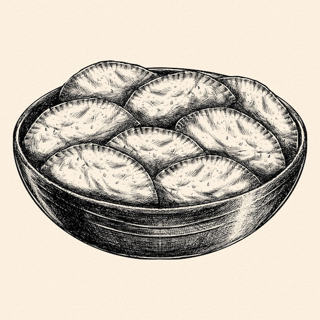 Реалистичная рисованная бразильская еда пастель Бесплатные векторы