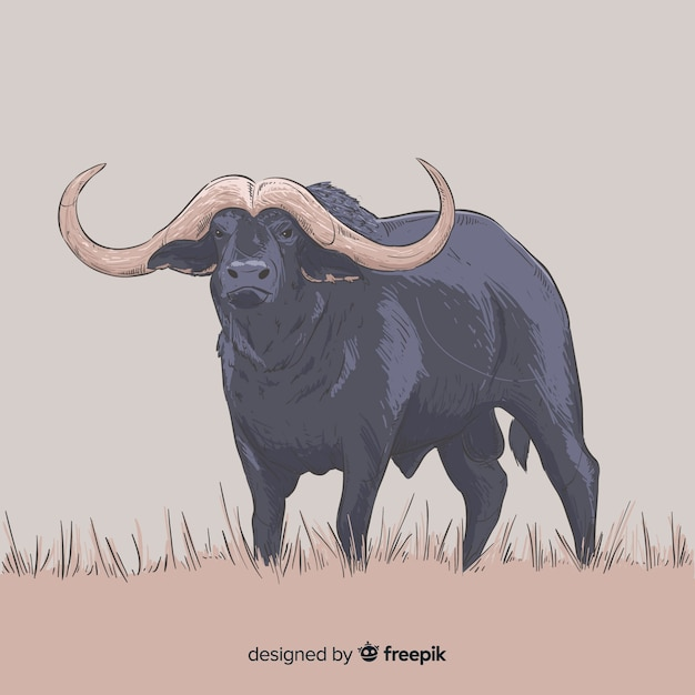 Realistic hand drawn buffalo animal Free Vector
