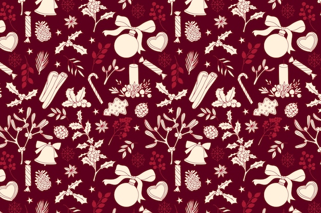Realistic hand drawn christmas pattern Free Vector