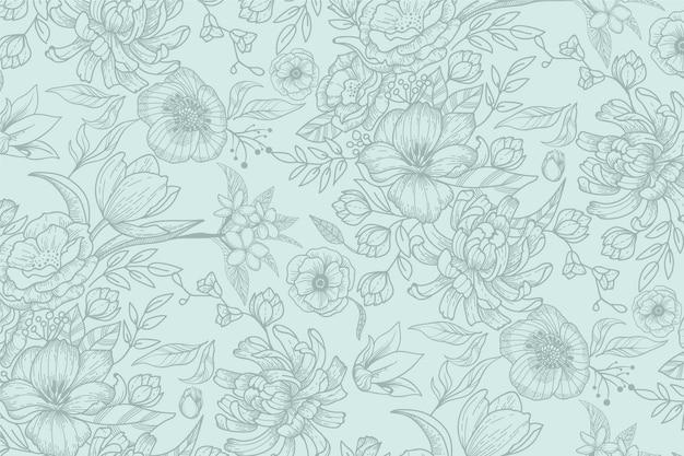 Реалистичная рисованной цветочный фон Бесплатные векторы