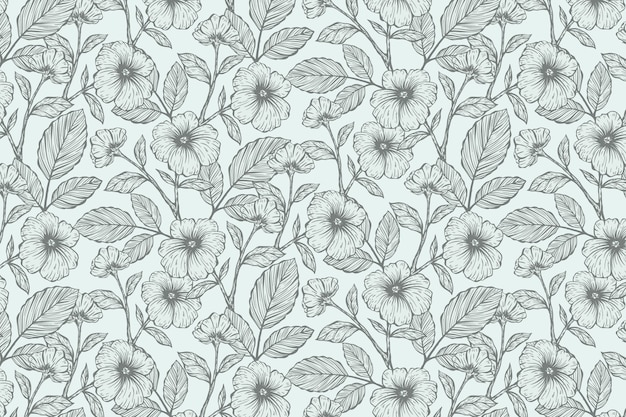 Realistic hand drawn floral background Free Vector
