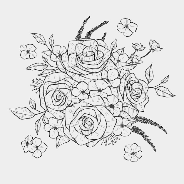 Realistic hand drawn floral bouquet Free Vector