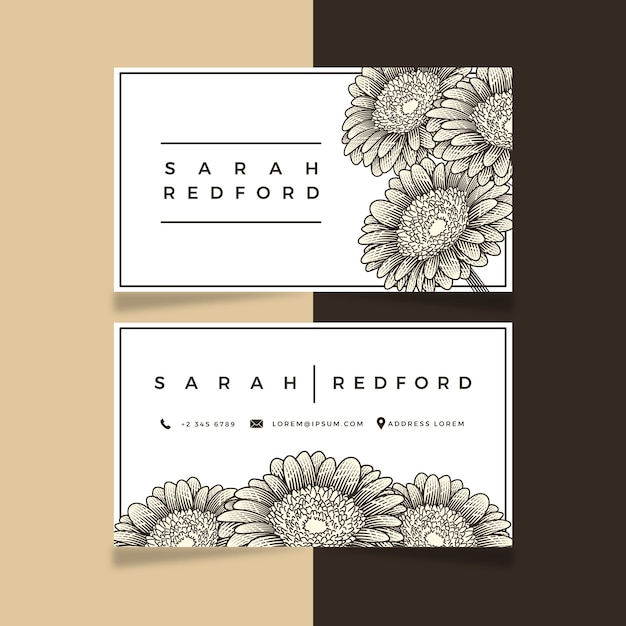 Realistic hand-drawn floral business card template design Free Vector