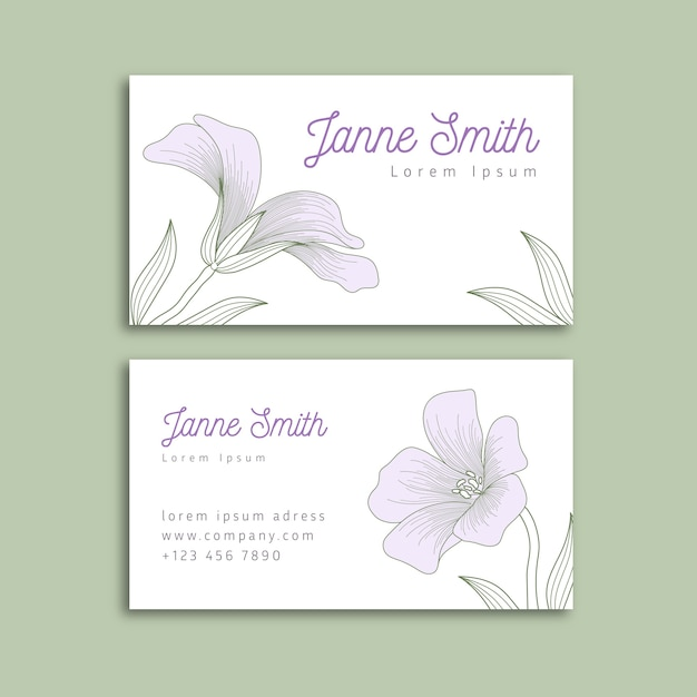 Realistic hand-drawn floral business card template theme Free Vector